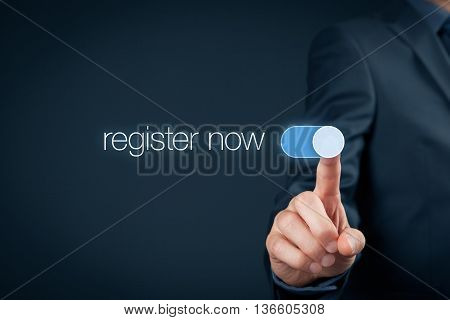 Businessman switch-on button register now web registration concept.