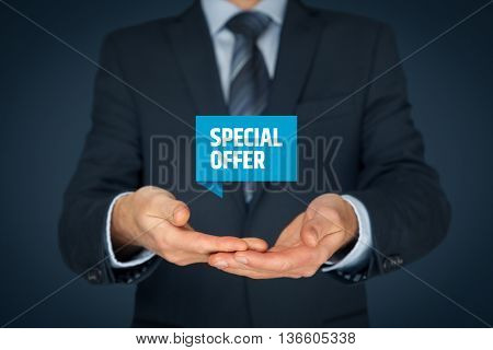 Special offer business model and marketing offer concept. Businessman hold virtual label with text.