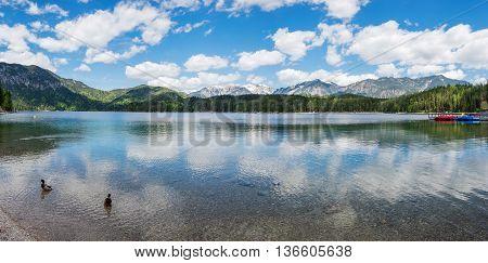 Panoramic view of Eibsee Lake Bavaria Germany