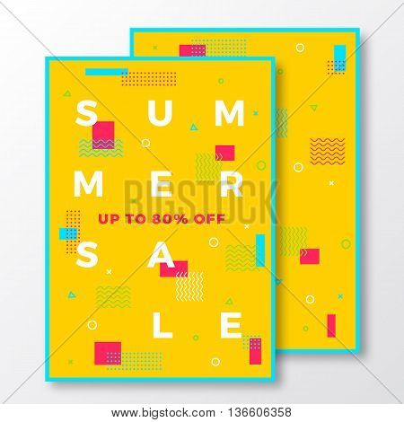 Summer Sale Poster, Card or Flyer Template. Modern Abstract Flat Swiss Style Background with Decorative Elements and Minimal Typography. Bright Red Yellow Blue Colors. Soft Shadows. Isolated