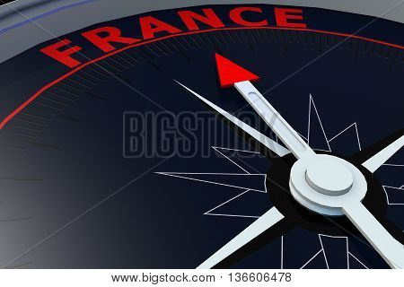 Black compass with France word on it 3D rendering