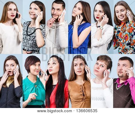 Collage of different people speak on the phone on the blue background