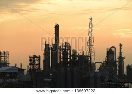 A large oil-refinery plant and chemical plant