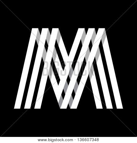 Capital letter M. Made of of three white stripes Overlapping with shadows. Logo, monogram, emblem trendy design.