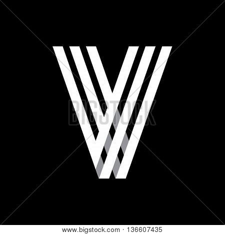 Capital letter V. Made of of three white stripes Overlapping with shadows. Logo, monogram, emblem trendy design.