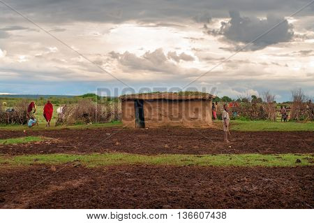 Traditional Village Of Maasai , Kenya.