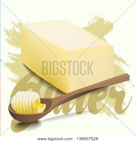 A piece of yellow milk butter with rolled slice on wooden spoon. Margarine