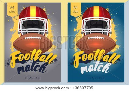 Set of american football poster design in A4 size. Vector rugby flyer