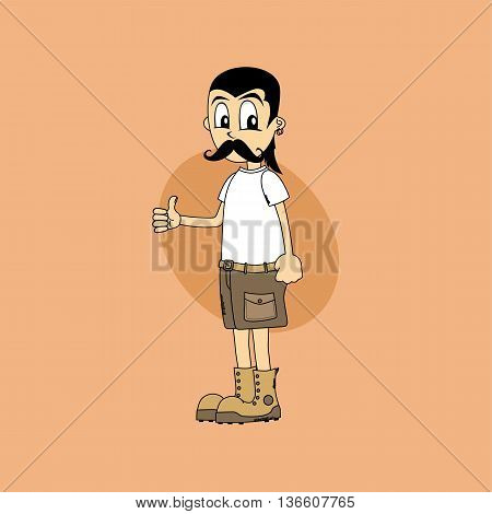 Male Cartoon Character Thumb Up Gesture