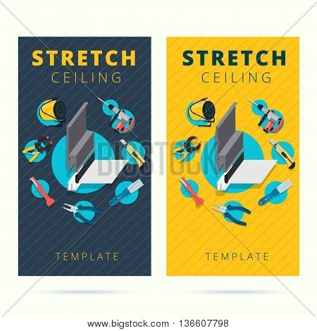 Stretch ceiling vector tools and worker business card concept design. Stretched cap in flat style with instruments background