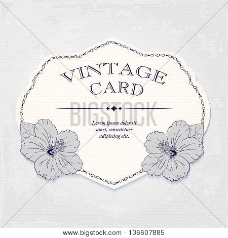 elegant frame with hibiscus flowers. Vector illustration. Elegant wedding invitation design, Greeting Card, banner or label