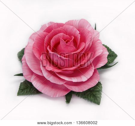 Handmade flower fabric foamiran. Beautiful rose made of sponge rubber.