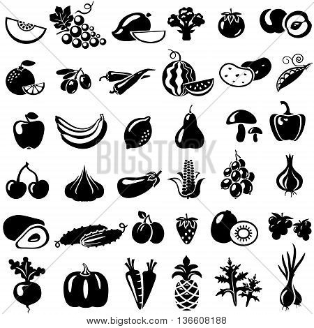Set of fruits and vegetables. Vector illustration. Tomato peach onion pepper mushrooms arugula beans melon grapes mango broccoli orange olives watermelon banana apple lemon pear cherry pineapple eggplant corn avocado cucumber plum strawberry garlic carrot