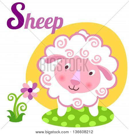 Cute animal alphabet for ABC book. Vector illustration of cartoon sheep. S letter for the Sheep