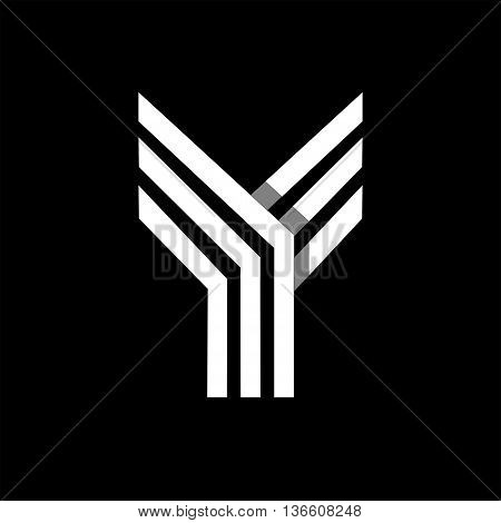 Capital letter Y. Made of of three white stripes Overlapping with shadows. Logo, monogram, emblem trendy design.
