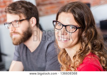 Woman face smile business people colleagues sitting office meeting