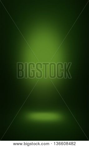 soft green spotlight background blur dark color shadows and place for standing vertical.