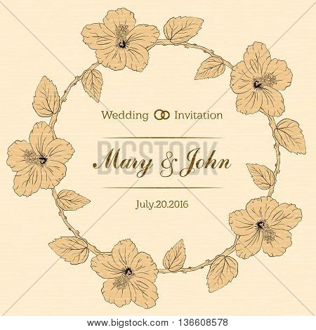 round frame with hibiscus flowers. Vector illustration. Wedding invitation. textured sharpen paper background. Sketch linear floral wreath