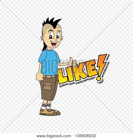 punk male cartoon character like text thumb up theme vector art illustration