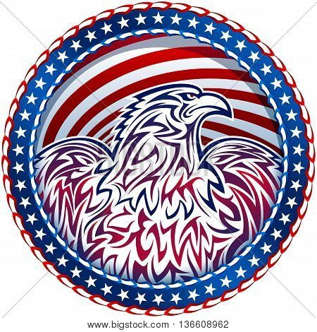 American eagle in the medal of the Stars and Stripes flag; The national symbol of the USA for a design of Independence Day; Eps8