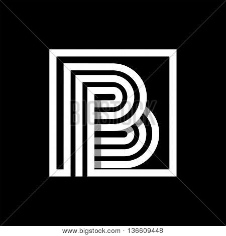 B capital letter made of of three white stripes enclosed in a square. . Overlapping with shadows monogram, logo, emblem. Trendy design.