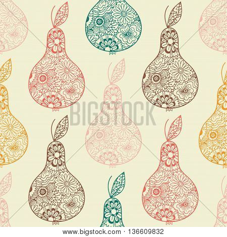 Elegant decorative pears seamless pattern Vector pattern with abstract ornament of flowers. Textile fabric background