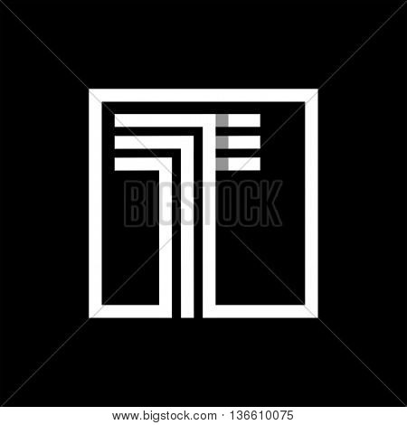 T capital letter made of of three white stripes enclosed in a square. . Overlapping with shadows monogram, logo, emblem. Trendy design.
