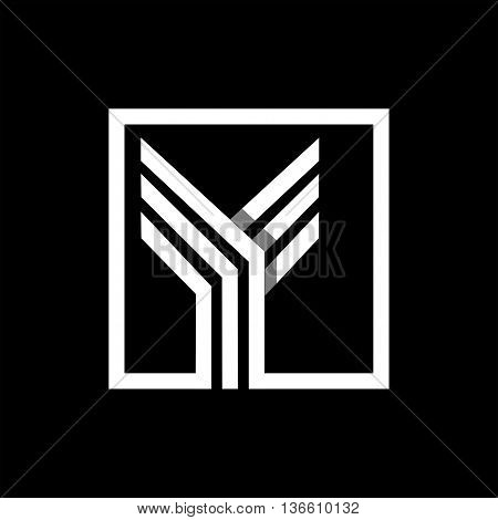Y capital letter made of of three white stripes enclosed in a square. . Overlapping with shadows monogram, logo, emblem. Trendy design.