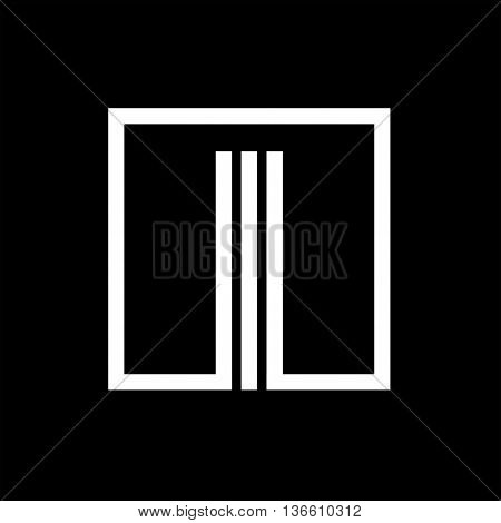 I capital letter made of of three white stripes enclosed in a square. . Overlapping with shadows monogram, logo, emblem. Trendy design.