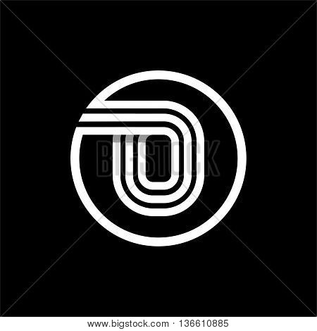 O capital letter made of of three white stripes enclosed in a circle . Overlapping with shadows monogram, logo, emblem. Trendy design.