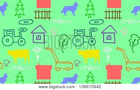 seamless pattern with a farm tractor and mower cow house