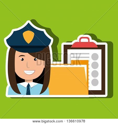 police with folder and clipboard isolated icon design, vector illustration  graphic