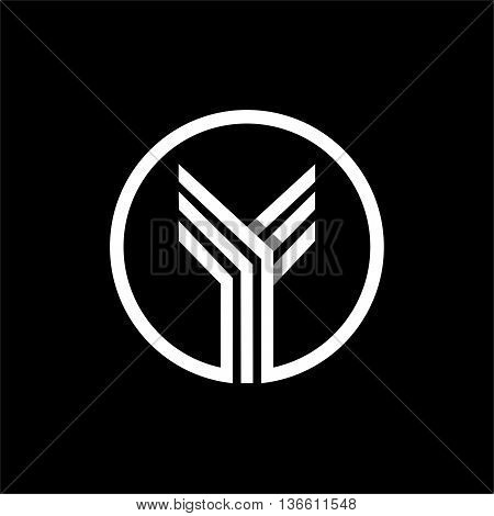 Y capital letter made of of three white stripes enclosed in a circle . Overlapping with shadows monogram, logo, emblem. Trendy design.