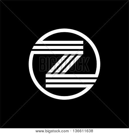 Z capital letter made of of three white stripes enclosed in a circle . Overlapping with shadows monogram, logo, emblem. Trendy design.