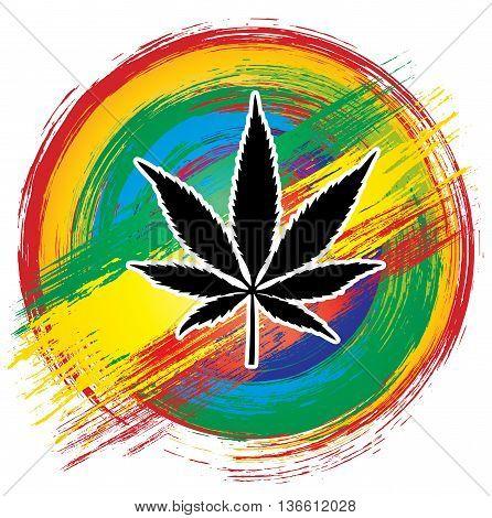Marijuana leaf silhouette jamaican flag brush texture background