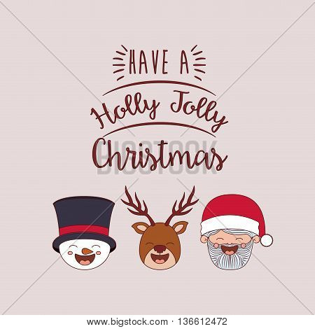 funny Christmas santa claus, snowman, reindeer, character isolated icon design, vector illustration  graphic