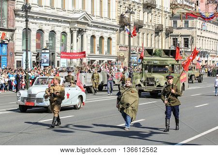 St. Petersburg, Russia - 9 May, People and cars of the war years, 9 May, 2016. Holiday-action