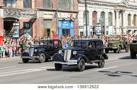 St. Petersburg, Russia - 9 May, Vintage cars senior officers, 9 May, 2016. Holiday-action
