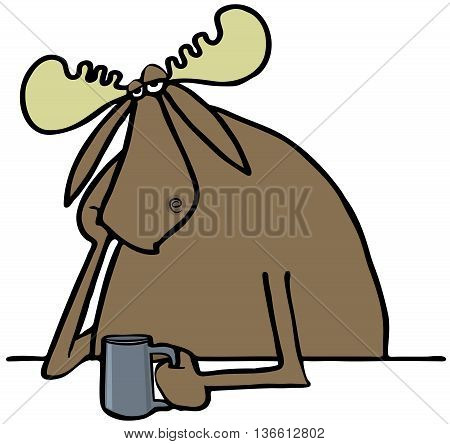 Illustration of a depressed bull moose propping his head up and drinking a beverage.