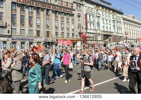St. Petersburg, Russia - 9 May, People of all ages in the column, 9 May, 2016. Holiday-action