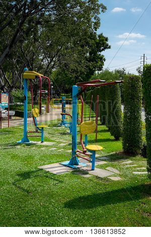 fitness gears for free in public garden - Thailand