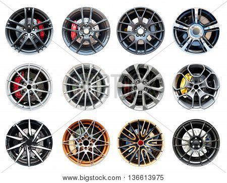 Colection of modern sport wheel isolated on a white background