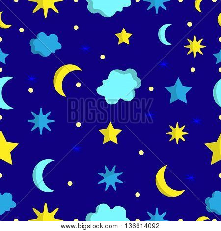 Night sky seamless pattern in vector on dark blue background