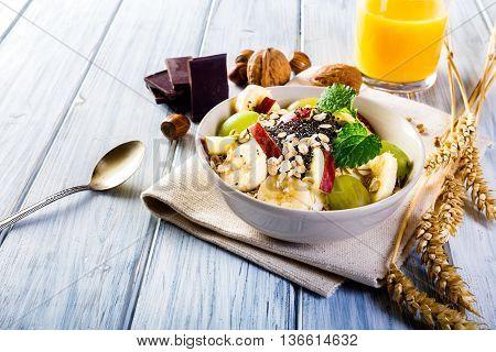 Oatmeal With Yoghurt And Fresh Fruit.