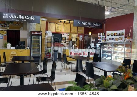 NAPERVILLE, ILLINOIS / UNITED STATES - NOVEMBER 3, 2015: One may eat Korean gourmet food, including Korean burritos, at the Kimchihana Korean Gourmet concession in the H Plaza food court in Naperville.