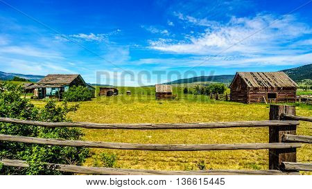 Old dilapidated farm buildings in the Lower Nicola Valley near Merritt British Columbia, Canada