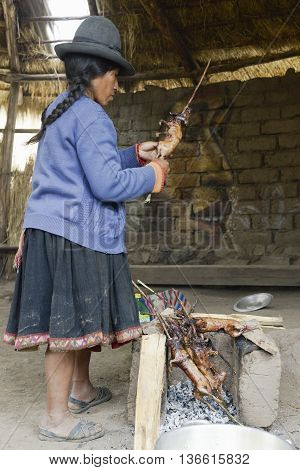 Part Paru, Peru - October 22 2012: Native Peruvian woman preparing guinea pigs over fire. Guinea pigs are special dish in Peru prepared for weddings and religious ceremonies.