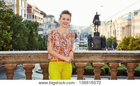Woman Standing Near National Museum At Wenceslas Square, Prague