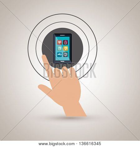 human hand selecting smartphone menu isolated icon design, vector illustration  graphic