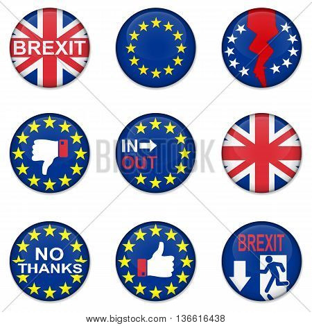Brexit British referendum concepts with EU and UK flag on badges
